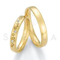 2 x 585er Gold Trauringe mit Diamanten ca. 0,045ct.  - Honeymoon Solid XIII - 66/66070-035