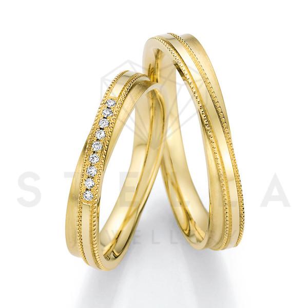 2 x 585er Gold Trauringe mit Diamanten ca. 0,045ct.  - Honeymoon Solid XIII - 66/66110-040
