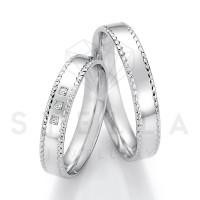 2 x 585er Gold Trauringe mit Diamanten ca. 0,045ct.  - Honeymoon Solid XIII - 66/66030-040