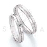 2 x 585er Gold Trauringe mit Diamant ca. 0,045ct.  - Honeymoon Solid XIII - 66/66050-035