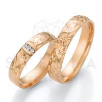 2 x 585er Gold Trauringe mit Diamanten ca. 0,045ct.  - Honeymoon Solid XIII - 66/66090-045