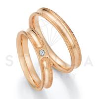 2 x 585er Gold Trauringe mit Diamant ca. 0,045ct.  - Honeymoon Solid XIII - 66/66130-040