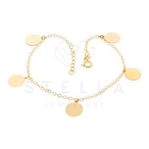 585er Gold Armband mit 5 Plättchen 19 cm Kreis...