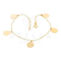 585er Gold Armband mit 5 Plättchen 19 cm Kreis Schmuck Goldarmband