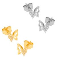 Paar 585er Gold Ohrstecker mit Zirkonia Ohrschmuck Model 9 Schmetterling Etui Ohringe