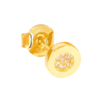 Paar 585er Gold Ohrstecker mit Zirkonia Ohrschmuck Model 11 Kreis Etui Ohringe