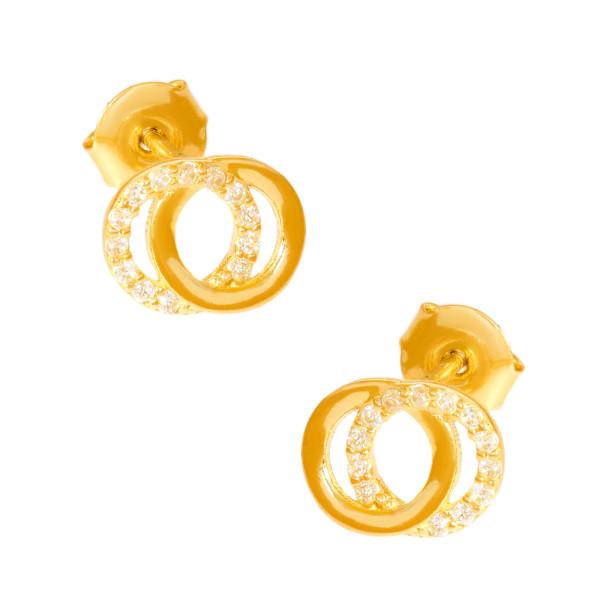 Paar 585er Gold Ohrstecker mit Zirkonia Ohrschmuck 13 Doppel Kreis Etui Ohringe