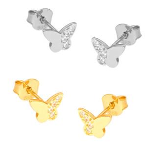 Paar 585er Gold Ohrstecker mit Zirkonia Schmetterling...