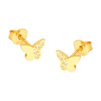 Paar 585er Gold Ohrstecker mit Zirkonia Schmetterling Ohrschmuck Etui Ohringe