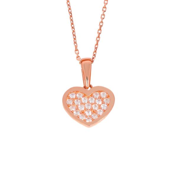 585er Rotgold Damen Anhänger Herz mit Zirkonia Steine Herzkette 42cm Collier