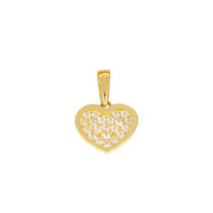 585er Gelbgold Damen Anhänger Herz mit Zirkonia...