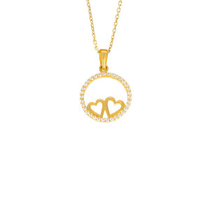 585er Gold Damen Anhänger Herz mit Zirkonia Steine Halskette 42cm Collier Kreis