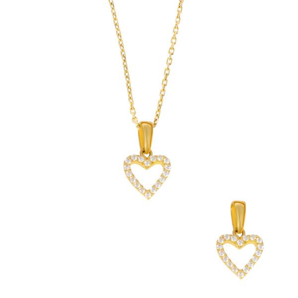 585er Gold Damen Anhänger Herz mit Zirkonia Steine Halskette 42cm Collier Kette