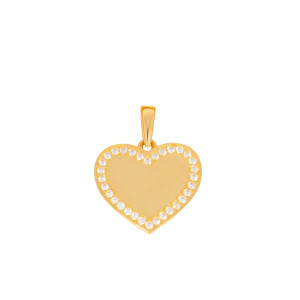 585er Gold Damen Anhänger Herz mit Zirkonia Steine...