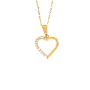 585er Gold Damen Anhänger Herz mit Zirkonia Stein...