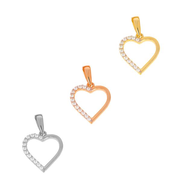 585er Gold Damen Anhänger Herz mit Zirkonia Steine