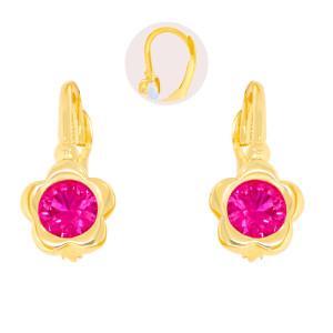 Paar 585er Gold Klappbrisur Ohrringe Blume Ohrhänger