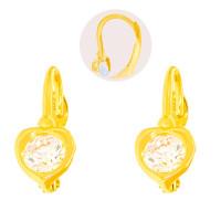 Paar 585er Gold Klappbrisur Ohrringe Herz Ohrhänger Kinder Mädchen Damen Etui
