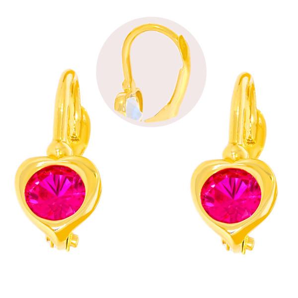 Paar 585er Gold Klappbrisur Ohrringe Herz Ohrhänger Kinder Mädchen Damen Etui 2