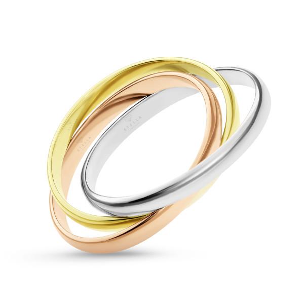 585er Gold Damen Ring Tricolor 3-reihig verschlungen Triple Weißgold Gelbgold Rotgold