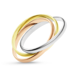 585er Gold Damen Ring Tricolor 3-reihig verschlungen...
