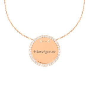 585er Gold Gravierbare Halskette mit Runden Zirkonia Anhänger Ø18 Plättchen Namenskette
