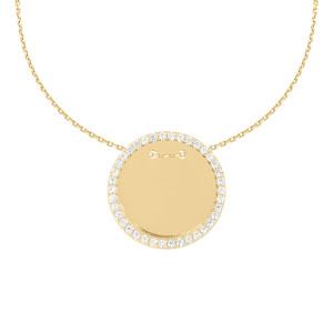585er Gold Gravierbare Halskette mit Runden Zirkonia Anhänger Ø23 Plättchen Namenskette
