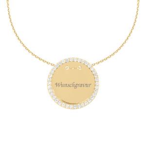 585er Collierkette mit Gravurplatte Rund Gold Kette mit Zirkonia -Ø27