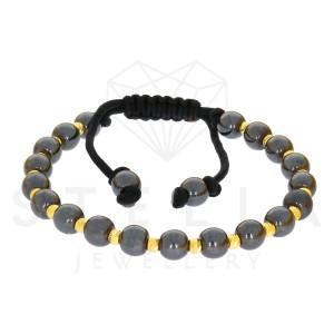 Geflochten Armband mit 585er Gelbgold und Onyx Kugel...