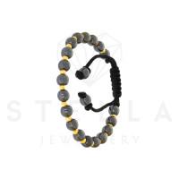 Geflochten Armband mit 585er Gelbgold und Onyx Kugel Armkette Onixsteine inkl. Etui