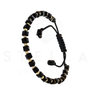 Geflochten Armband mit 585er Gelbgold und Onyx Steine...
