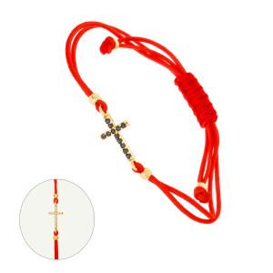 Geflochten Armband mit 585er Gelbgold Kugel und Kreuz...