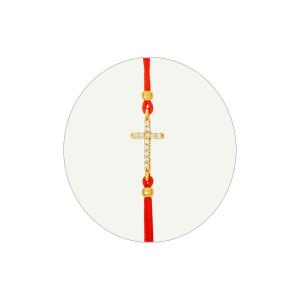 Geflochten Armband mit 585er Gelbgold Kugel und Kreuz Zirkonia Steine Armschmuck