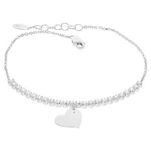 Damen Armband Weißgold 585 Zirkonia Herz Liebe...