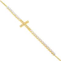 585er Gelbgold Armband Zirkonia mit Kreuz Armkette Goldarmband Kettenarmband Etui