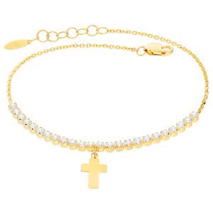 Damen Armband 585er Gelbgold Zirkonia Kreuz Armkette...