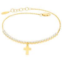 Damen Armband 585er Gelbgold Zirkonia Kreuz Armkette Goldarmband Kettenarmband inkl. Etui