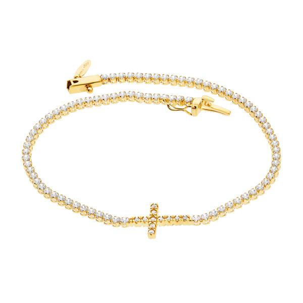 585er Gelbgold Armband Zirkonia mit Kreuz Armkette Goldarmband Kettenarmband Kastenverschluss Etui