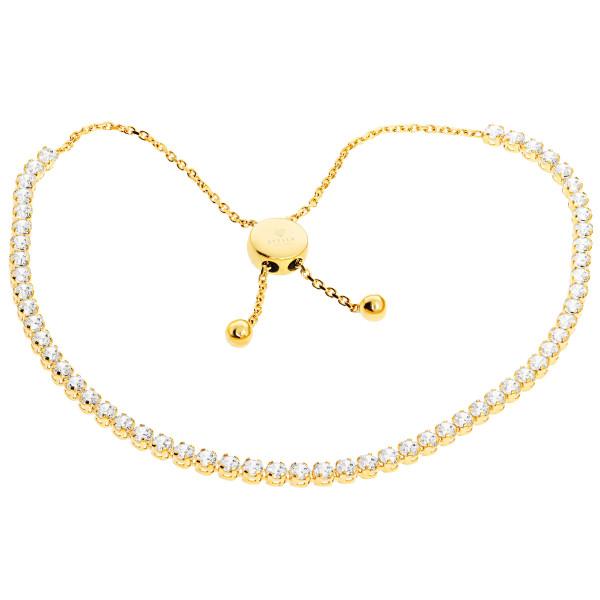 585er Gelbgold Armband mit Zirkonia Schiebeverschluss Armkette Goldarmband Kettenarmband Etui