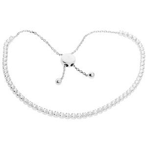 585er Weißgold Armband mit Zirkonia Schiebeverschluss Armkette Goldarmband Kettenarmband Etui