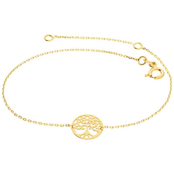 585er Gold Lebensbaum Armband Ankerkette 19 cm Kreis Schmuck Goldarmband Etui