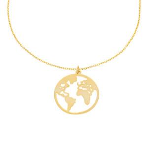 585er Gold Halskette mit Weltkugel Anhänger Globus...