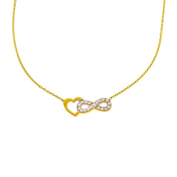 585er Gold Kette mit Herz Infinity mit Zirkonia Anhänger Unendlichkeit 45cm