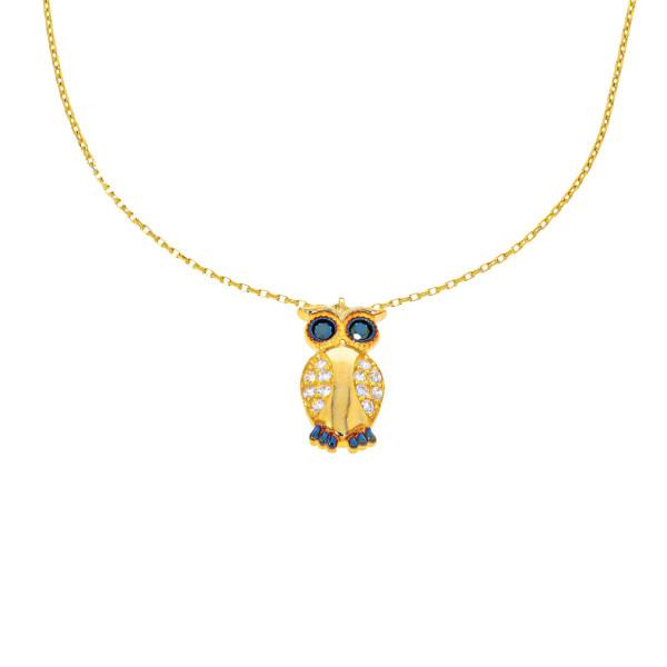585er Gold Kette mit Herz Eule Tier Zirkonia 45cm inkl. Etui Damen