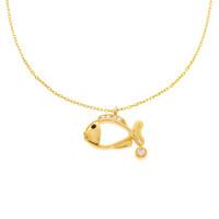 585er Gold Kette mit Herz Fisch Tier Zirkonia 45cm inkl. Etui Damen
