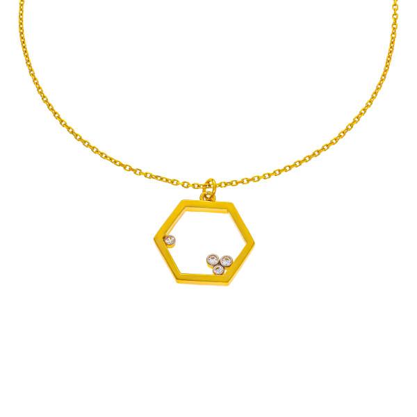 585er Gold Kette mit Sechseck Anhänger Zirkonia 45cm inkl. Etui Damen Kettenanhänger