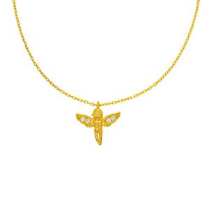 585er Gold Kette mit Engel Anhänger Zirkonia 42cm...