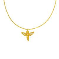 585er Gold Kette mit Engel Anhänger Zirkonia 45cm inkl. Etui Damen Engelsrufer