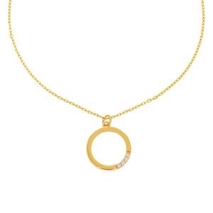 585er Gold Kette mit Kreis Anhänger Zirkonia 45cm...
