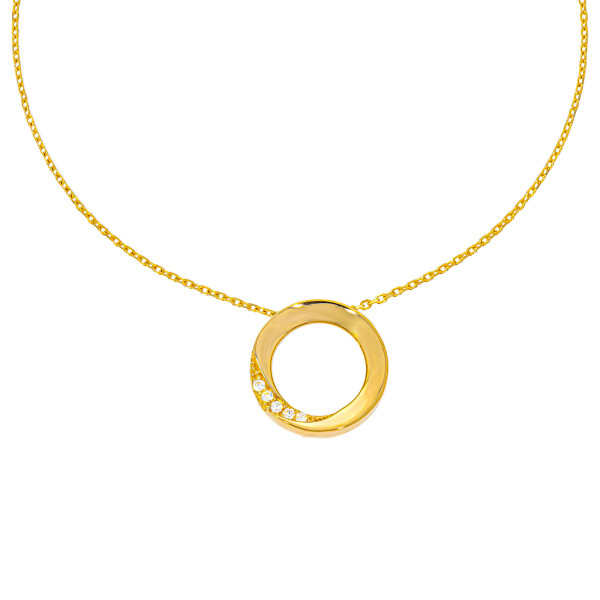 585er Gold Kette mit Kreis Anhänger Zirkonia 42cm inkl. Etui Halskette Collier 2